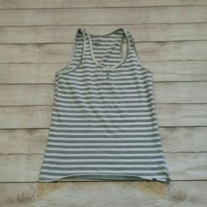 Tommy Hilfiger Grey and White Striped Tank